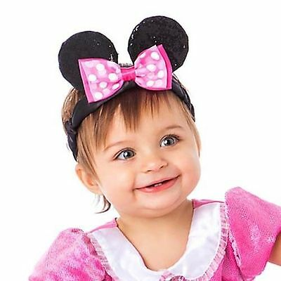 Disney Store Get Girly Baby Minnie Mouse Ears Headband for Baby Costume New!!!