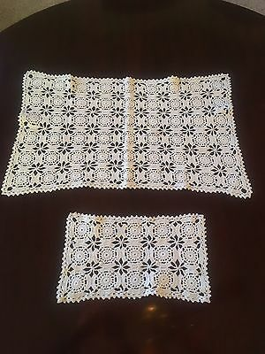 (2)  Antique Vintage Hand Made Ivory Crochet Lace Table Runners