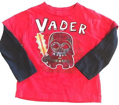 Star Wars Toddler Darth Vader Shirt Size 3T Long Sleeve Red Black 100% Cotton
