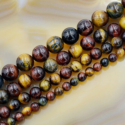 Natural Yellow Red Blue Tiger's Eye Gemstone Round Beads 15'' Assorted