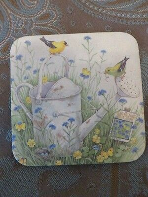 Coaster 3 1/2 X 3 1/2 Watering Can With Yellow Birds In A Field