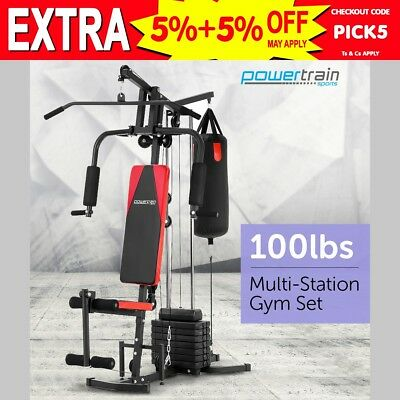 Powertrain Multistation Home Gym Exercise Equipment Workout Fitness Weights 45kg