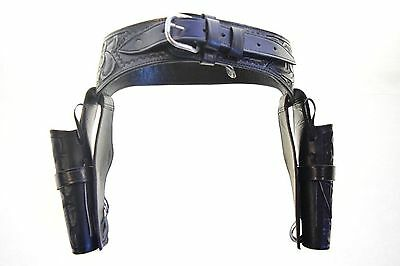 Gun Holster & Belt Cowboy Western Style Rig .38/.357 Cal Double... FREE SHIPPING