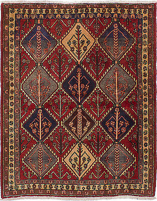 """Hand-knotted Persian Carpet 5'1"""" x 6'7"""" Persian Vintage Wool Rug...DISCOUNTED!"""
