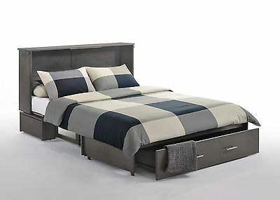 Night & Day Sagebrush Stonewash Murphy cabinet bed w gel mattress, Queen