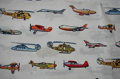 Helicopters & Planes White Cotton Fitted Cot Sheet Handmade