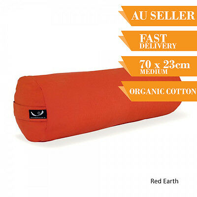 Organic Yoga Bolster Back Support Head Support Reading Bolster 70cm Red Earth
