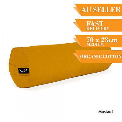 Organic Yoga Bolster Back Support Head Support Reading Bolster 70cm Mustard