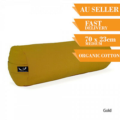 Organic Yoga Bolster Back Support Head Support Reading Bolster 70cm Gold