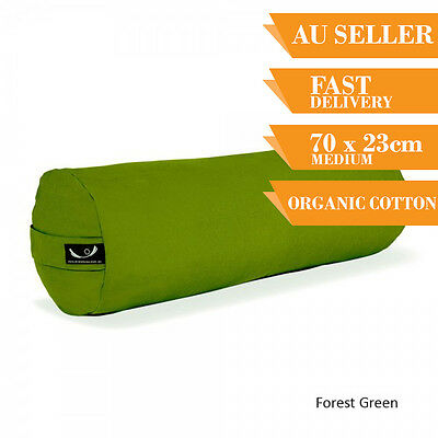 Organic Yoga Bolster Back Support Head Support Reading Bolster 70cm Forest Green