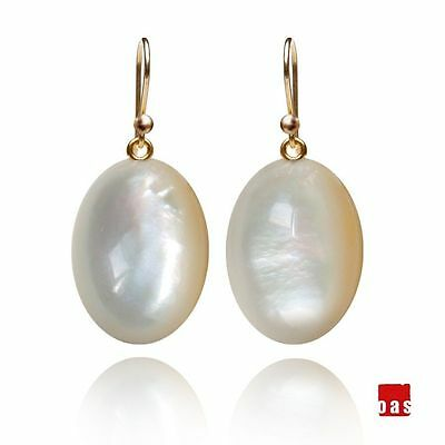 14k 18k Pure Solid Gold Mother of Pearl Earrings Hook or Leverback Option