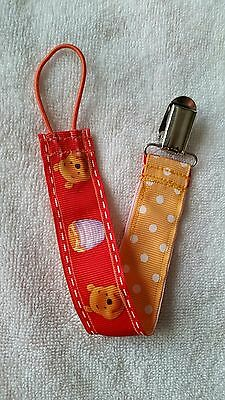 Baby Soother/Pacifier Holder w/Metal Clip/Pooh