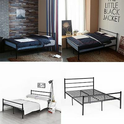 Modern Metal Bed Frame 3ft 4ft6 Single Double Black White Silver Bedstead