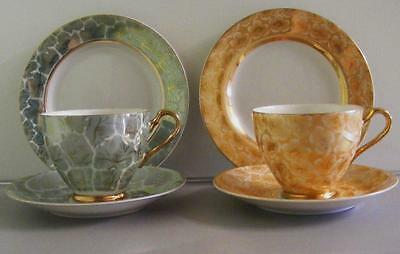 2 x Tea trio's Japan fine china cup saucer plate gold floral gold orange green
