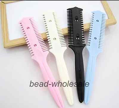 2Pcs Hair Cutter Thinning Shaper Comb 2 Razor Blades Trimmer Barber Remover Tool