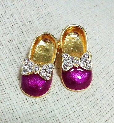 Cute Lady Shoes Fresh Pink Crystal Enamel Rhinestone Brooch Costume Decorated