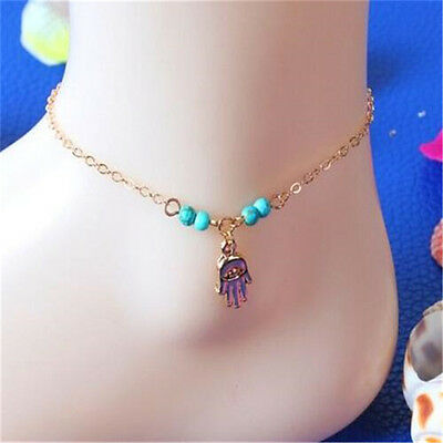 Women Turquoise Beads Palm Ankle Chain Anklet Bracelet Foot Jewelry