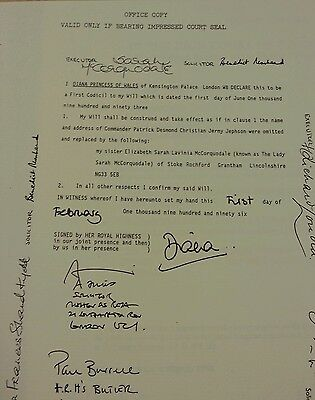 DIANA Princess Of Wales Copy Of Original Will 1996 & Death Certificate 1997