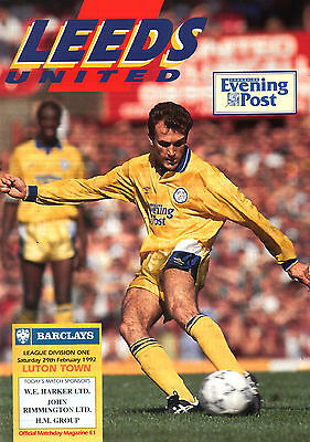 1991/92 Leeds United v Luton Town, Division 1, PERFECT CONDITION