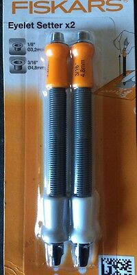"FISKARS EYELET SETTER setting/ hole cutter  TOOL kit 1/8'' & 3/16"" set of 2"