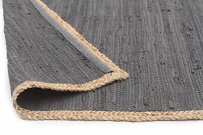 JUTE RUG PLAY CHARCOAL Grey Large 3 SIZES Cotton Floor mat FREE POST*