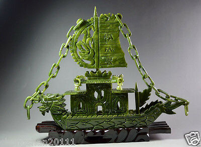 Chinese 100% Natural Jade Hand Carved Dragon Incense statue Dragon Ship