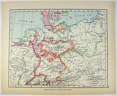 Vintage Longmans Map of Central Europe on August 6, 1806