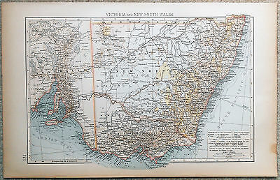 Original 1898 Map of Victoria and New South Wales by Velhagen & Klasing