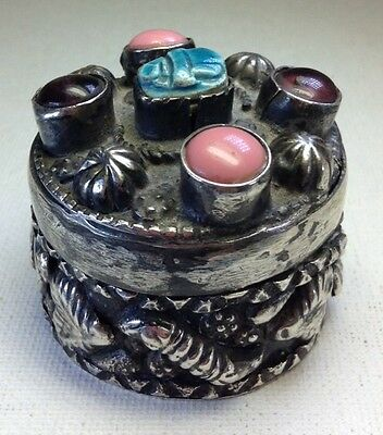 Antique Egyptian Sterling Silver Heavy Repousse Genuine Amethyst Scarab Box