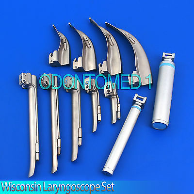 Wisconsin Laryngoscope Set Emt Veterinary Top Quality (Mcintosh + Miller)