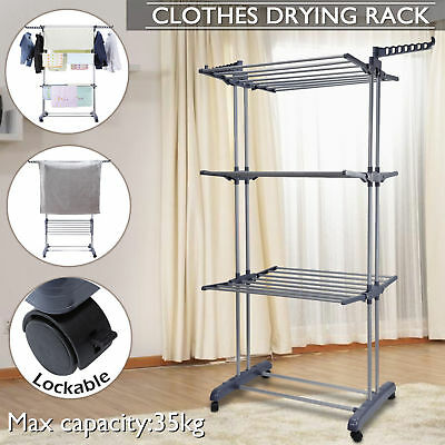 Foldable 6 Tiers Clothes Airer Laundry Drying Rack Clothesline Coat Hanger Stand