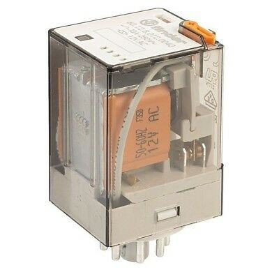 Finder 60.12.8.012.0040 2PCO Plug in Relay 12VAC 10A with Push to Test Button