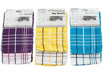 Pack Of 2 Tea Towels/ Check Design / 80% Cotton & 20% Polyester /kitchen T Towel