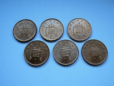 1980's one new pence 1p coins in NEAR MINT circulated condition.