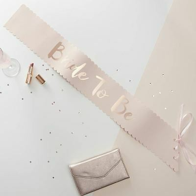 Pink & Rose Gold Bride to Be Sash Hen Party Bridal Shower Ginger Ray