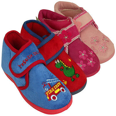 Girls Boys Childrens Toddlers Novelty Ankle Boot Slipper Kids Slippers New