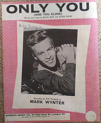 Mark Wynter - Only You - UK 1964 four-page sheet music