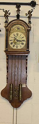 1920 Oak Wall Clock with 8 Day movement. Moon Face and Cherubs