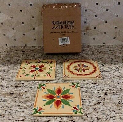 Southern Living At Home Gail Pittman Hand-Painted Trivets: Siena - Set Of 3 Nib