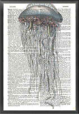 Jelly Fish Nautical Altered Art Print Upcycled Vintage Dictionary Page