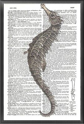 Sea Horse Nautical Altered Art Print Upcycled Vintage Dictionary Page