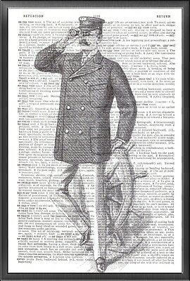 Nautical Sea Captain Altered Art Print Upcycled Vintage Dictionary Page