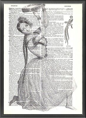 Tambourine Dancing Gypsy Altered Art Print Upcycled Vintage Dictionary Page