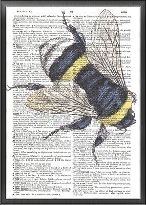 Honey Bee Altered Art Print Upcycled Vintage Dictionary Page