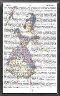 Jester Puppet Altered Art Print Upcycled Vintage Dictionary Page