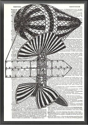 Steampunk Airship Altered Art Print Upcycled Vintage Dictionary Page