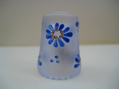 Vintage glass thimble, blue flower thimble, hand painted, made in Germany
