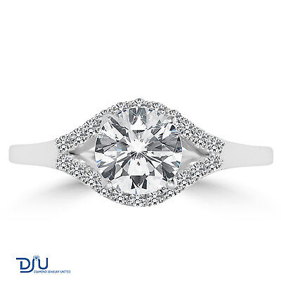 1.09 Ct Round Cut Diamond Engagement Ring SI1/D 14K White Gold