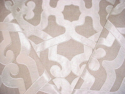 5 Thibaut Embroidered Platinum / Linen Beige Linen Drapery Upholstery Fabric