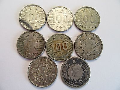 Lot of 8 Japan Silver Coins, 6 100 Yes + 2 50 Sen, mixed dates